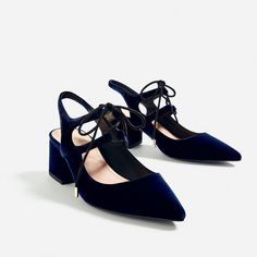 LACE - UP SLINGBACK HIGH HEEL SHOES-NEW IN-TRF | ZARA Switzerland (225 RON) ❤ liked on Polyvore featuring shoes, high heel shoes, laced up shoes, high heel slingback shoes, slingback shoes and laced shoes