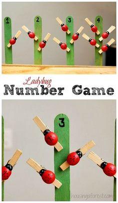 Ladybug number game for preschoolers math activities, preschool math games, montessori math, educational Number Games Preschool, Preschool Learning, Kindergarten Math, Math Games, Toddler Activities, Learning Activities, Preschool Activities, Counting Games, Montessori Preschool