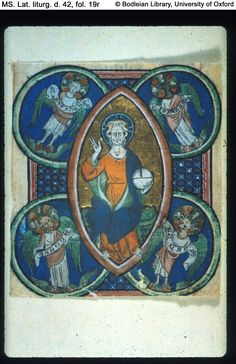 Historia Ezekielis.  Christ in majesty, surrounded by the four Evangelist symbols.
