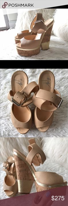 Giuseppe Zanotti Leather Wedge Sandal Size 37.5. Nude cork wedge sandal with gold trim. Great Condition. Minor scuff pictured above. 100% Authentic will ship with original dust bag. Giuseppe Zanotti Shoes Wedges
