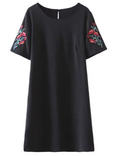 Embroidered Sleeve A Line Dress - BLACK L