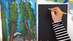 Create beautiful conifer trees using basic art supplies: black construction paper, pencil, glue, chalk and tempera paint Conifer Trees, Evergreen Trees, Painting For Kids, Art For Kids, Black Construction Paper, 6th Grade Art, Kids Pages, Painted Paper, Art Club