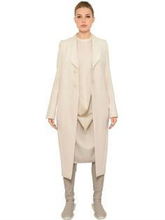 RICK OWENS COTTON & SILK LONG JACKET, ECRU. #rickowens #cloth #coats