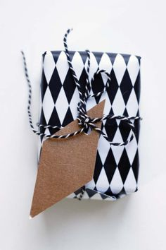 use the same pattern as the wrapping paper for the tag/