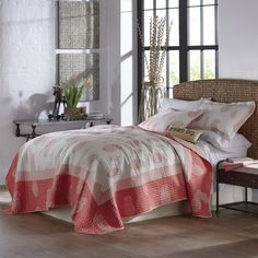 Freida Coral Oversized Quilt and Sham from Through the Country Door® | NI717982