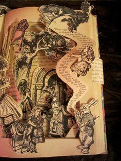 Book sculpture Alice in Wonderland Altered by MetamorphicBooks
