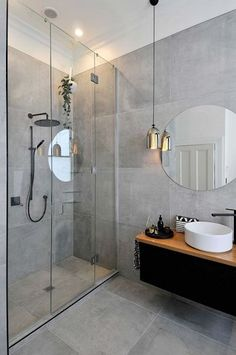 28 Bathroom Lighting Ideas to Brighten Your Style Design # Elegant Modern Bathroom Ideas Grey Bathroom Tiles, Modern Bathroom Design, Bathroom Interior Design, Bathroom Faucets, Bathroom Designs, Grey Tiles, Modern Interior, Bathroom Black, Light Grey Bathrooms