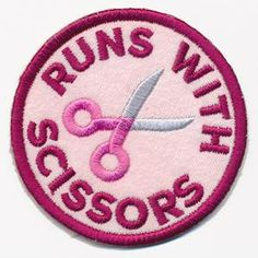You've earned the distinction of running with scissors, now show it off with a distinctively sassy merit badge! This design stitches up as a freestanding in-the-hoop patch, perfect for placing on denim jackets, craft totes, and more. Cute Patches, Pin And Patches, Sew On Patches, Iron On Patches, Funny Patches, Denim Jacket Patches, Urban Threads, Merit Badge, Patch Design