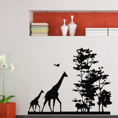 2015 New Arrival African Animal Wall Decal Safari Giraffe Tree Mural Art Wall Sticker Removable Home decoration $26
