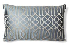 Graphic 14x24 Embroidered Pillow, Gray on OneKingsLane.com