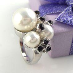 2pcs,LOT fashion ladies white rhinestone pearl cocktail alloy rings RN-408
