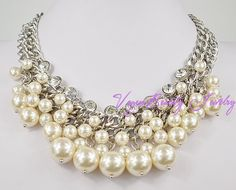 Statement Necklace Pearl Silver Necklace by VogueBeautyJewelry, $14.70
