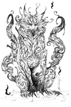 Bijuu Matatabi sketch by Abz-J-Harding on DeviantArt Manga Anime, Anime Naruto, Naruko Uzumaki, Naruto Shippuden Sasuke, Tailed Beasts Naruto, Creepy Cat, Anime Drawing Styles, Marijuana Art, Naruto Drawings