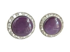 Earrings for Her! Vintage Coro Earrings in Purple Thermoset, surrounded by a halo of bright white Rhinestones.  The Earrings are silvertone metal screw backs.  - The Earrings measure 1 inch ...