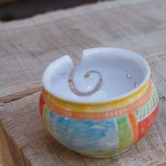 Hand Made Pottery Yarn Bowl, Knitting Bowl