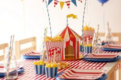 """Circus Party    At LilyBel Sudio we put together one of our most popular table settings. Our """"under the big top"""" circus theme is based on the colour scheme of red, yellow and blue."""