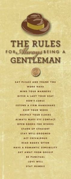 Rules for a Gentleman