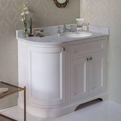 Burlington Matt White 1000mm Curved Vanity Unit With Doors Worktop Basin Right Hand