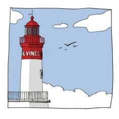 Phare du port du Guilvinec Illustrations, Illustration Art, Lighthouse Photos, Sewing Art, Sketch Design, Coloring Sheets, Windmill, Art Decor, Ocean