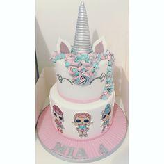 Unicorn & LOL surprise dolls cake with matching Unicorn Cupcakes