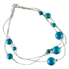 Turquoise Silver Strand Bracelet from HandPicked - $29.00