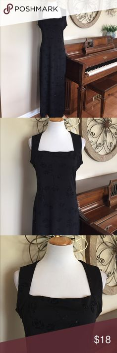 """Younique Size Large Black Maxi Dress w/ Sparkle Excellent Condition! Size Large black dress. 100% Polyester - Made is the USA - Bust is 19.75"""" across - waist is 18"""" and hip is 22"""" Younique Dresses Maxi"""