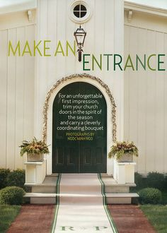 Make An Entrance: For an unforgettable first impression, trim your church doors in the spirit of the season and carry a cleverly coordinating bouquet. – @brides We love this winter wedding idea that uses our Zinc Flower Boxes. – JamaliGarden.com