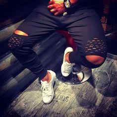 Wish | Men Fashion Holes Leisure Pants Causal Sports Cotton Long Slim Hip Hop Trousers