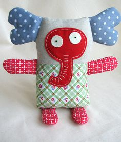 Stuffed Soft Fabric Toy -  Crazy Elephant from Crazy Zoo (MADE FOR ORDER). $25.00, via Etsy.