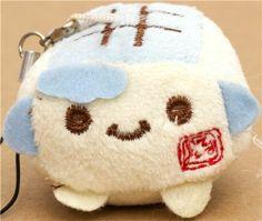 blue Hannari Tofu plush cellphone charm Japan kawaii