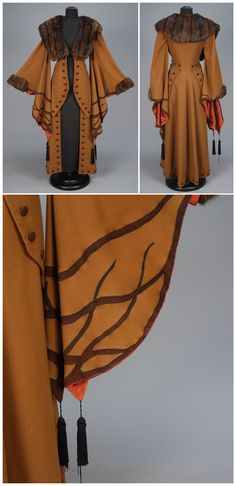WOOL COAT with APPLIQUE and FUR TRIM, EARLY 20th C. Light brown with exaggerated wizard sleeve appliqued in darker brown with black silk tassels, fur collar and cuff, contrasting faux button trim and satin lining. B-32, W-28, L-54. Excellent. Whitaker Auctions