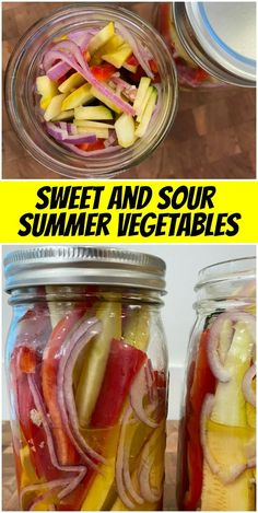Sweet and Sour Summer Vegetables recipe from RecipeGirl.com #sweet #sour #summer #pickled #vegetables #recipe #RecipeGirl Canning Recipes, Beef Recipes, Vegetarian Recipes, Healthy Recipes, Jar Recipes, Summer Vegetable Recipes, Summer Recipes, Recipes Appetizers And Snacks, Healthy Snacks