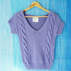 """American Eagle Knitted Sweater Shirt Mint condition sweater shirt from AE Outfitters. Crew neck , short sleeve. Length: 21"""", sleeve: 7"""". 100% cotton. Color is lavender with some intentional fading. Fits true to size.  Make me an offer or bundle to save 10%. American Eagle Outfitters Sweaters Crew & Scoop Necks"""
