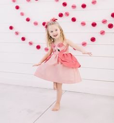 3a21f265db27 Pink Flamingo Bow. Designer ChildrenswearGirls Party DressPink Party DressesPink  ...