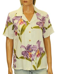 6a4dbdf3b6db Check out the deal on Hawaiian Blouse Camp Style Rayon Double Orchids at Shaka  Time Hawaii