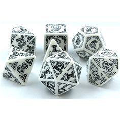 RPG Dice Set (Celtic White and Black) roleplaying game dice + bag
