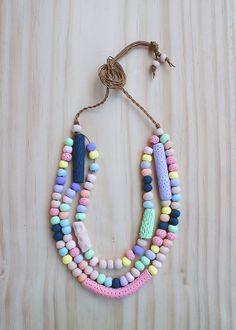 Three Tier Adjustable Necklace of Handmade Beads by enaandalbert