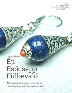 """"""" Éji esőcsepp """" lápisz lazuli fülbevaló - precíz kézimunka allergiamentes orvosi fém biztonsági kapoccsal"""