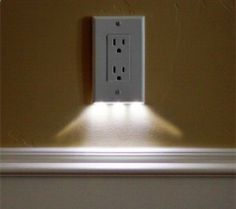 these night light outlet covers use $0.05 of electricity per year and require no additional wiring. would be great for hallways.