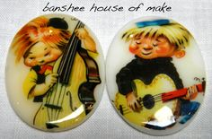 Vintage Cabochon - 2 Rare Kitsch Cartoon Musician Kids Mint Condition Cabs 30x40MM 1950s/1960s Jazz/Folk Hipster OOAK Vintage Comic Jewelry by bansheehouseofmake on Etsy