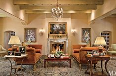Rustic Living Room by Rose Aiello and A & E Stoneworks in Santa Fe, New Mexico Adobe House, Eclectic Interior, Rustic Southwestern Decor, Home Decor, Traditional Style Homes, Rustic Living Room, Interior Design, Architectural Digest, Rustic House