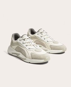 Image 1 of WHITE AND GREY SNEAKERS WITH THICK SOLES from Zara