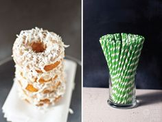 Piña Colada Baked Doughnuts and milk by Sam Henderson of Today's Nest