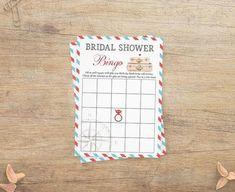 Bridal Shower Bingo, Bridal Bingo, Baby Shower Signs, Blank Bingo Cards, Invitation Cards, Invitations, Airplane Baby Shower, Late Night Diapers, Honeymoon Fund