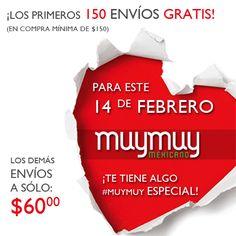 Aprovecha que del 1 al 14 de febrero tendremos envíos gratis para los primeros 150 pedidos **compra mínima de $150.00**. Asimismo, los demás envíos serán sólo a $60. Sólo envíos nacionales MuyMuy Mexicano http://www.muymuy.mx/confetty-joyeria-mexicana_151 Confetty Joyería