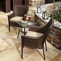 Grand Resort Oak Hill 3pc Bistro with Motion Sling Chairs - Outdoor Living - Patio Furniture - Small Space Sets