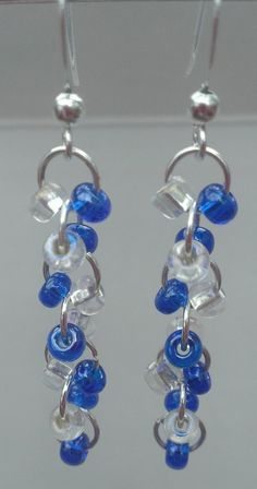 Beaded dangle earrings  #handmade #jewelry #bead #beading