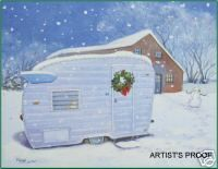 Vintage Winged Shasta Travel Trailer Camper RV ART PRINT