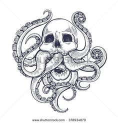 Vector Black and White Tattoo Skull Tentacle Illustration