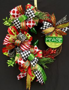 Peace Christmas Wreath / Christmas by SouthernWhimsyStyle on Etsy